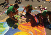 People Creating Chalk Art